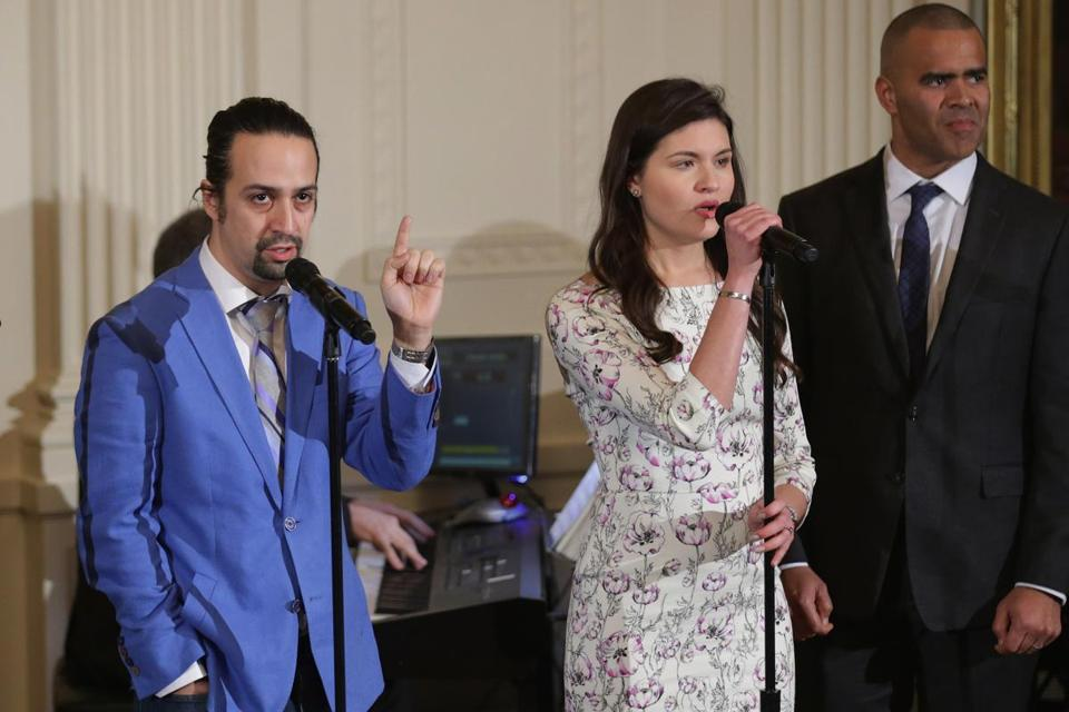"""Hamilton"" creator and star Lin-Manuel Miranda (left) performed music from the Broadway production with fellow cast members in the East Room of the White House Monday."
